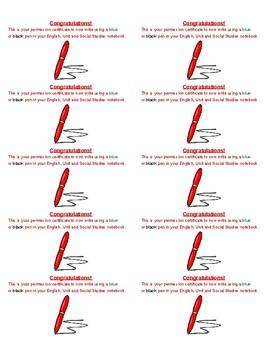 Pen Writing Certificate (Stickers) 2 x 5