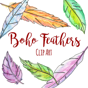 Pen and Ink Watercolor Feathers Clip Art