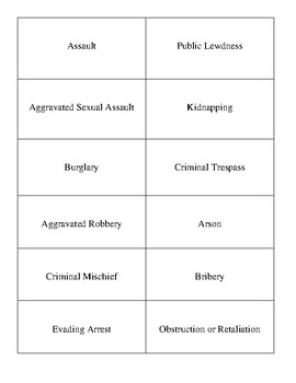 Texas Penal Code Mix N Match Card Activity