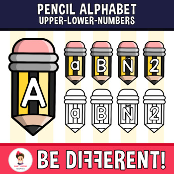 Pencil Alphabet Clipart Letters ENG.-SPAN. (Upper-Lower-Numb.)