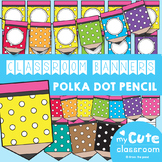 Editable Banner - Pencil Pennants {Polka Dot} for the Classroom