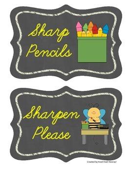 Pencil Bin Labels