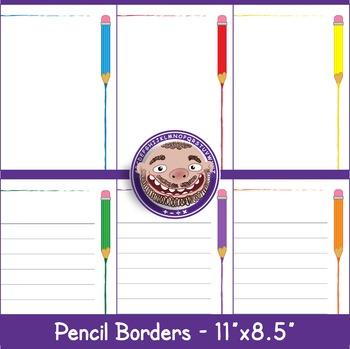 Pencil Borders 6 Bright Colors