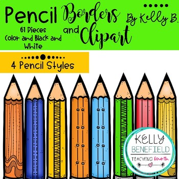Pencil Borders and Pencils Clipart By Kelly B.