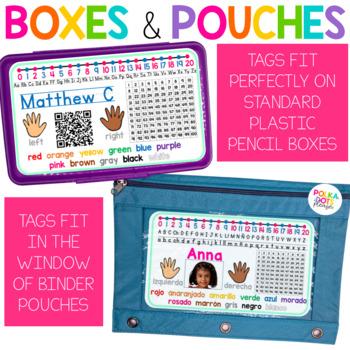 Pencil Box Name Tags - English & Spanish