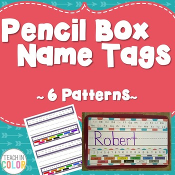 Pencil Box Name Tags - Dots, Green, Purple, Teal, Red - 6 Different Patterns