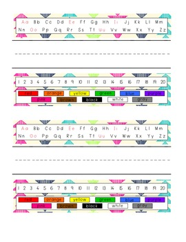 Pencil Box Name Tags - Bright Tribal - 9 Different Patterns
