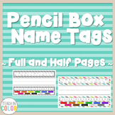 Pencil Box Name Tags - Country Cool - Teal, Green, Coral, Gray, Tan - 8 Patterns