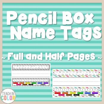 Pencil Box Name Tags - Country Cool - Teal, Green, Coral, Gray, Tan - 8 Patterns