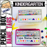 Pencil Box Name Tags Editable Kindergarten