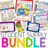 Pencil Box Name Tags with Take Home Folders and Learning T