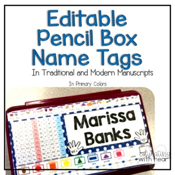 Pencil Box Name tags in Primary Colors {EDITABLE}