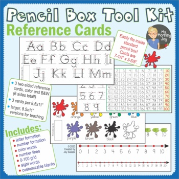 Pencil Box Tool Kit Letter Formation, Number Line Reference Cards and More