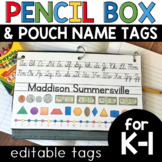 Pencil Box and Pouch Name Tags for Social Distancing & Fle
