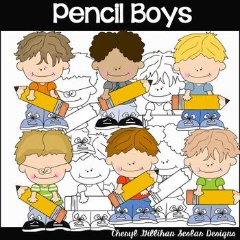 Pencil Boys Clipart Collection