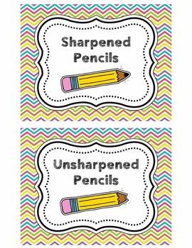 Pencil Bucket Labels - Sharpened/Unsharpened - Chevron