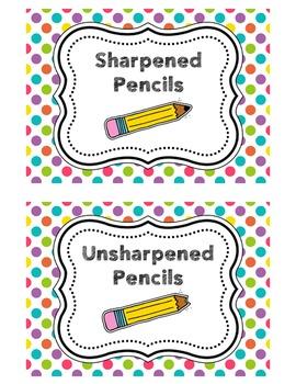 Pencil Bucket Labels - Sharpened/Unsharpened - Polka Dots