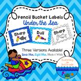 Pencil Bucket Labels - Under the Sea Decor ~ Chevron