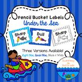 Pencil Bucket Labels - Under the Sea Decor ~ Stripes