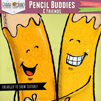 Smiling Pencils Clip Art and Office Supplies