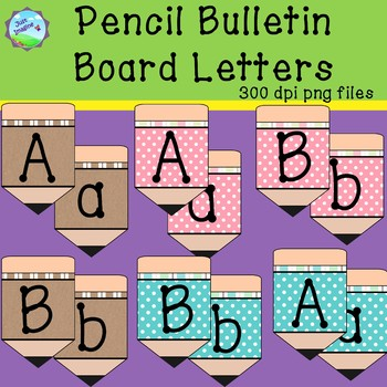 Pencil Bulletin Board Letters - teal and pink polka dots and kraft paper