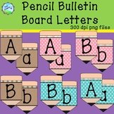 Pencil Bulletin Board Letters - teal and pink polka dots a