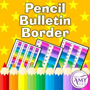Pencil Bulletin Border-Rainbow