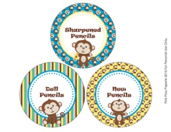 Pencil Caddy Labels Monkey Themed