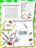 Pencil Case / Classroom  - Worksheets, Games & Crossword -