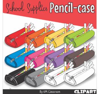 Pencil Case in Rainbow Colors - Clip Art