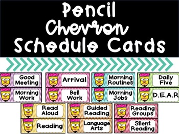 Pencil Chevron Schedule Cards