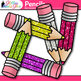 Pencil Clip Art {Rainbow Glitter Back to School Supplies for Teachers}