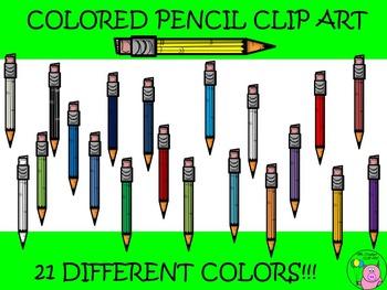~Colored Pencil Clip Art~ 21 Different Color Variations!!