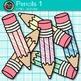 Rainbow Pencil Clip Art {Back to School Supplies for Classroom Decor} 1
