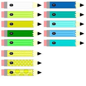 Pencil Clip Art - Color, Patterned & Line Art