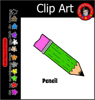 Pencil Clip Art Commercially Friendly and available in 12 Colors
