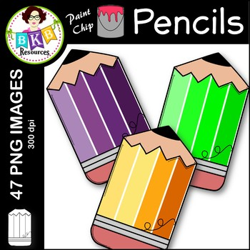 Pencil Clip Art ● Paint Chip Pencils ● Clip Art