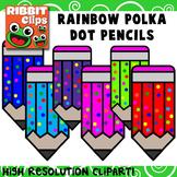 Pencil Clip Art- Rainbow Polka Dots