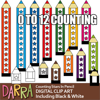 Pencil Clip Art for teaching numbers (counting stars), colors, long short