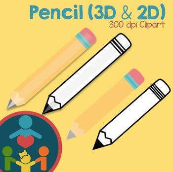 Pencil Clipart (3D and 2D)