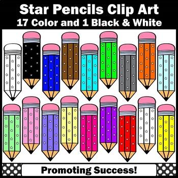 Pencil Clipart, Stars Theme School Supplies Clip Art SPS