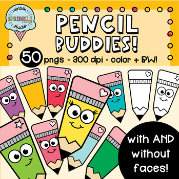Pencil Clipart / Pencils With Faces / School Clipart