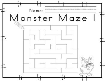 Worksheets for Motor Skills Mazes Monster themed