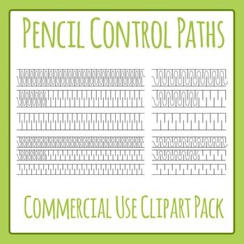 Pencil Control Paths Clip Art Set (Fine Motor Control) for