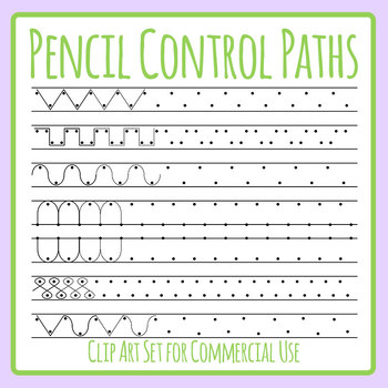 Pencil Control Paths for Tracing / Continuing the Path Clip Art Commercial Use