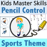 Pencil Control Sports Theme - Handwriting Strokes for Pres