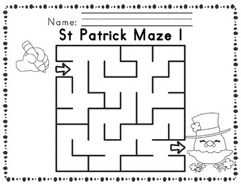 Worksheets for Motor Skills Mazes St Patrick themed