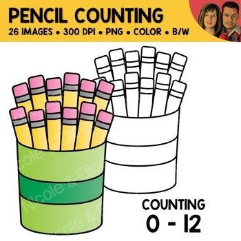 Pencil Counting Scene Clipart