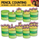 Pencil Counting Scene Clipart