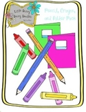 Pencil, Crayon, and Folders Clip Art Pack